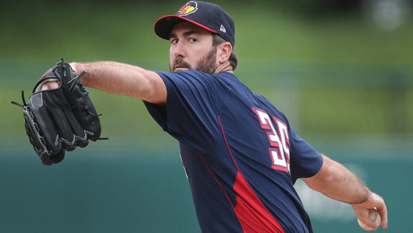 Justin Verlander, pitching for the Toledo Mud Hens in a rehab start, delivers in the first inning Sunday.