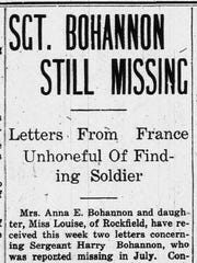 The Carroll County Citizen-Times, in its Oct. 26, 1918, edition, published letters from the front during World War I as Sgt. Harry Bohannon's family waited for word of his fate. Bohannon, a Rockfield native, was killed in a mission on the Marne River on July 1, 1918.