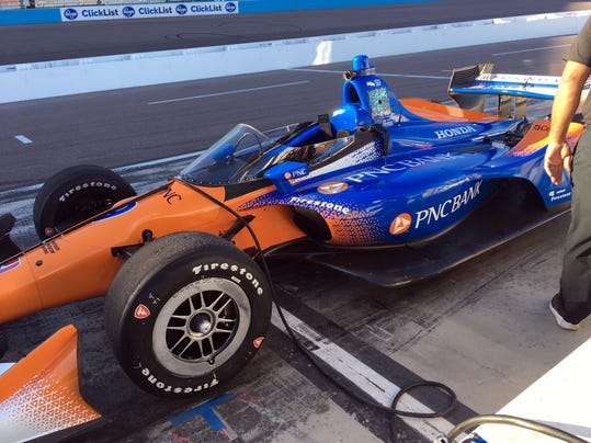 A prototype windscreen that is being developed to prevent debris from striking drivers is installed on four-time IndyCar series champion Scott Dixon's car in Avondale, Ariz., Thursday, Feb. 8, 2018. The screen was tested on a track for the first time Thursday with no serious problems, although Scott said it would take some time getting used to. More tests are planned and it is possible the screen will become a feature of IndyCars in 2019. (AP Photo/Robert Baum)