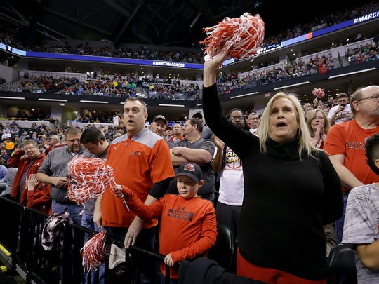 Jacksonville State fans cheer on their team as they are introduced before the start of their game against the Louisville Cardinal during the first round of the NCAA Men's basketball tournament Friday, March 17, afternoon at Bankers Life Fieldhouse.