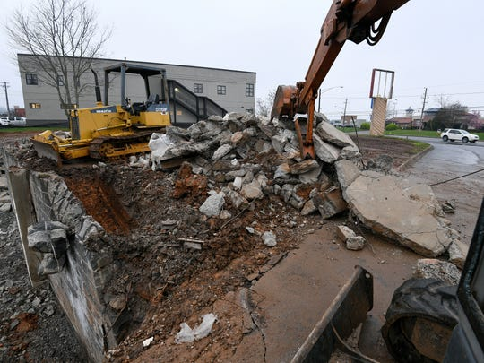 The Barr House building is no longer with only rubble left at 6508 Kingston Pike Tuesday, Mar. 6, 2018.