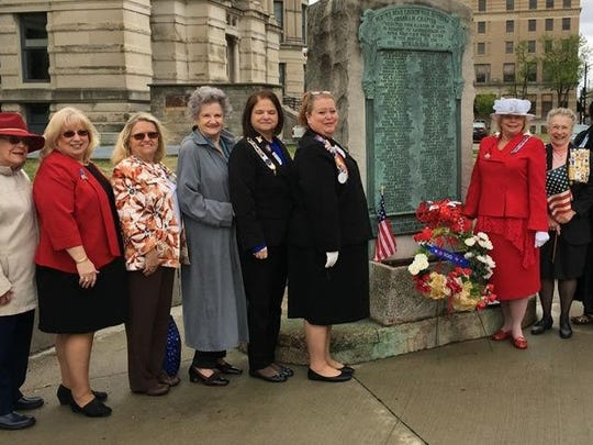 Honor flight Honor Flight and the Capt. Henry Vanderburgh Daughters of the American Revolution honored the 100th Anniversary of the US entry into World War I at the World War I memorial at the Old Courthouse in Evansville. Standing from left are DAR Sharon Mattingly, Cheri Baumberger, Betty Rittenhouse, Jo Ann Phelps, Cynthia Wongngamnit, DAR Regent Heather Bryan-Johnson, Susan Hansen, Rebecca Shelton and Rita Ann Dunlap.