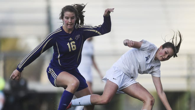 Fort Collins High School's Riley Dietrich, left, and Poudre's Taylor Bee in a game last season. Dietrich and Bee are club teammates on a squad that has seven college commits.
