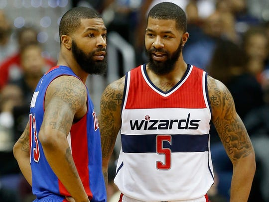 Marcus Morris (left), then of the Detroit Pistons,
