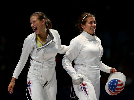 Kelley Hurley (left), shown here at the 2012 London Olympics.