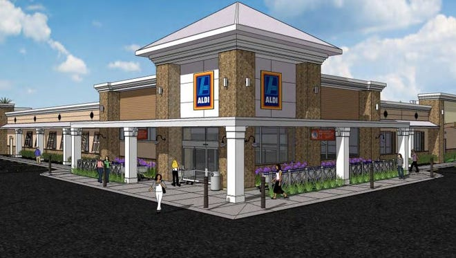 A rendition of the proposed Aldi east of U.S. 41 and north of the Walmart in Estero.