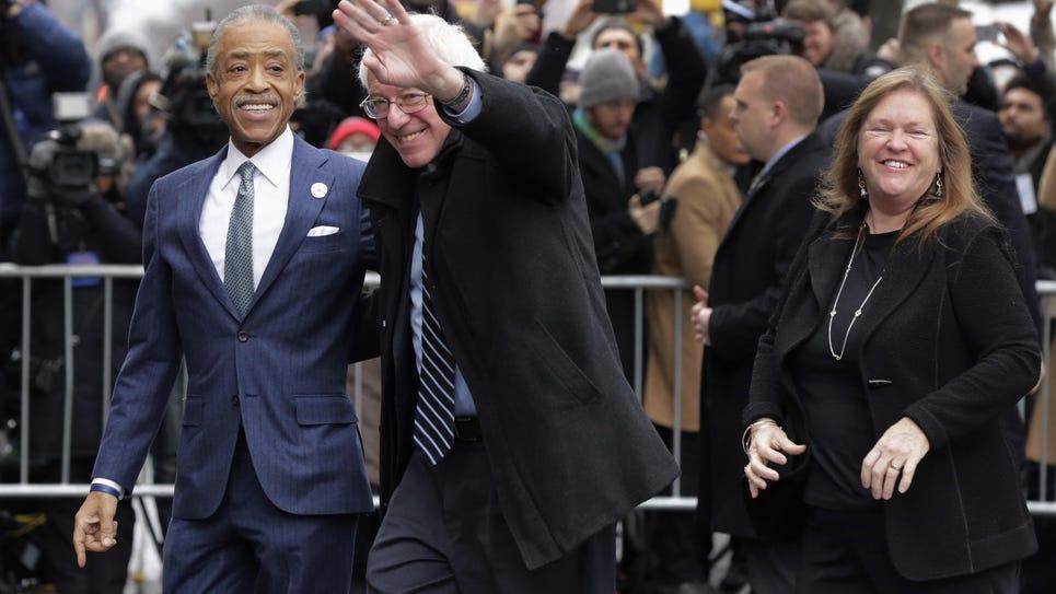 Bernie Sanders, Al Sharpton, Jane O'Meara Sanders