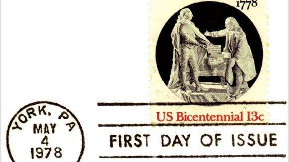 First Day of Issue cancellation of US Bicentennial French Alliance Postage Stamp (S. H. Smith Collections)