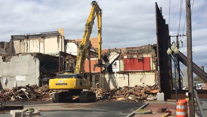 View of Millville demolition site at 11 a.m. Monday, April 30.