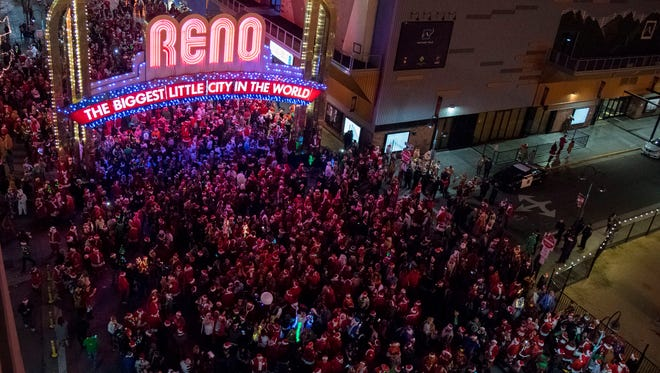 An RGJ file photo of the 2017 Santa Crawl in downtown Reno.