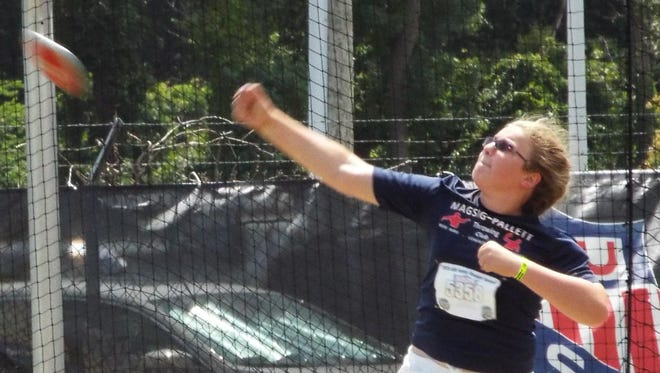Valadian Pallett of Farmington is the 12-year-old AAU national champion in the discus.