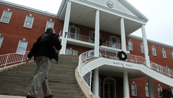A man walks to Martin Hall Thursday afternoon at UL.