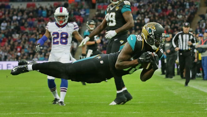 Jacksonville Jaguars wide receiver Allen Hurns (88) catches the ball for a touchdown during the NFL game between Buffalo Bills and Jacksonville Jaguars at Wembley Stadium in London,  Sunday, Oct. 25, 2015.