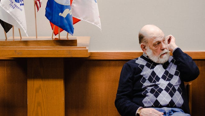 """Vietnam Veteran Earl """"Gunny"""" Christensen sits inside the Veterans' Treatment Court, a part of the 54B District Court, Dec 18, 2017. The retired Marine gunnery sergeant said the court saved his life. He now volunteers as a mentor."""