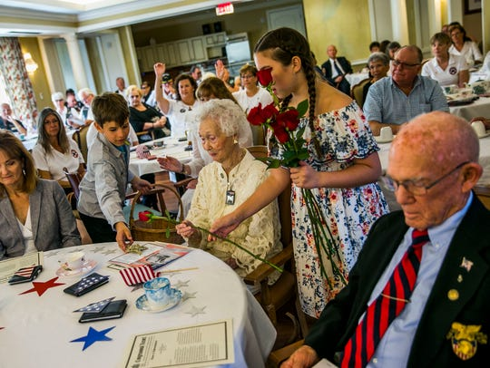 """Carlynn """"Polly"""" Crews, the oldest Gold Star mother in Florida, is honored during a reception for the 90th anniversary of the founding of the American Gold Star Mothers at Villa Memory Care in East Naples on Saturday, March 24, 2018"""