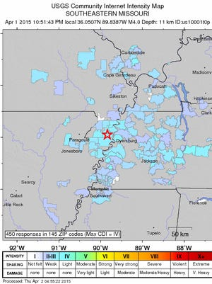 This map shows areas where people reported feeling the earthquake.