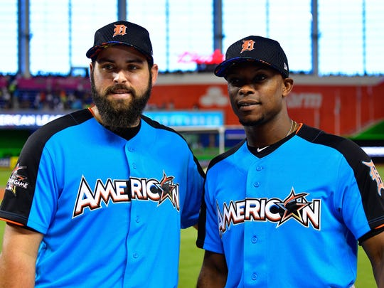 Tigers pitcher Michael Fulmer and leftfielder Justin Upton look on during Gatorade All-Star Workout Day ahead of the 88th MLB All-Star Game at Marlins Park on July 10, 2017.