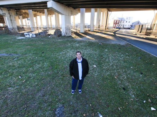 Anthony Santoro, former president of the Wilmington Skate Project, stands on the ground of a proposed skate park that has been in the planning stages for more than 15 years.