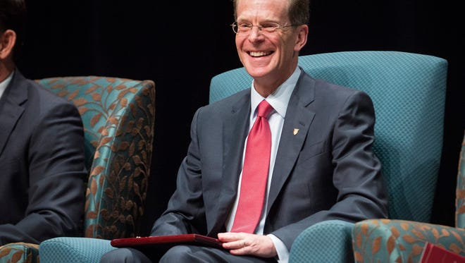 Ball State President Geoffrey S. Mearns is officially recognized as the 17th president of Ball State University Sept. 8 during his instillation ceremony at Emens Auditorium.