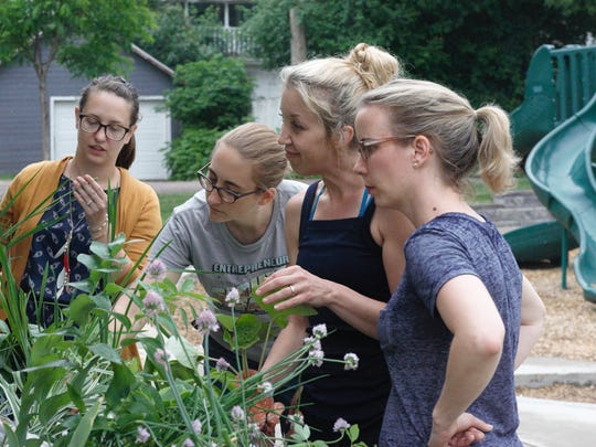 Neighbors from the All Saints and Cathedral Historical Districts bonded on Thursday over chives, zebra grass, and gardening advice.