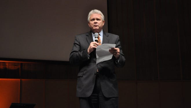 Louisiana College President-elect Rick Brewer read a statement Thursday in chapel about the school's meeting with a visiting team from the Southern Association of Colleges and Schools Commission on Colleges.