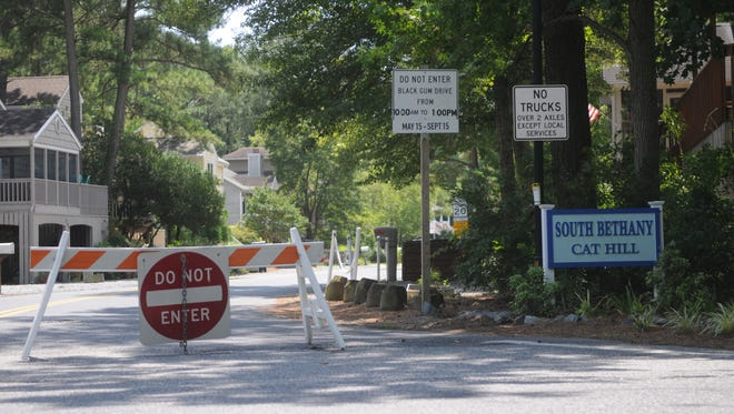 The blocked off entrance to the South Bethany Cat Hill community that has caused a conversation in the community.