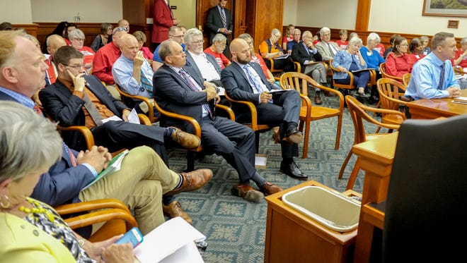 The House Judiciary Committee meeting room is full necessitating the use of an overflow room as lawmakers discuss HB 4416 Tuesday, May 16, 2017.