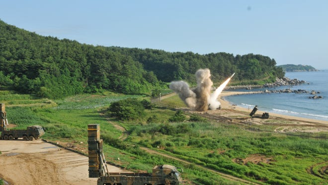 An M270 Multiple Launch Rocket System fires an MGM-140 Army Tacticle Missile into the East Sea on Wednesday, July 5, 2017. The launch by South Korea and the U.S. Army was in response to the North Korean launch of an intercontinental ballistic missile on Tuesday, July 4, 2017.