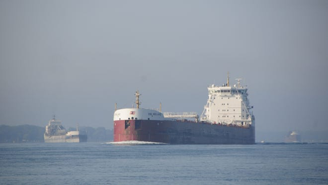 The CSL Welland is followed by two other freighters upbound in the St. Clair River near Marine City.