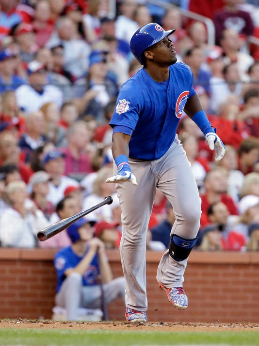 Chicago Cubs' Jorge Soler (68) watches his two-run home run during the second inning of Game 2 in baseball's National League Division Series against the St. Louis Cardinals, Saturday, Oct. 10, 2015, in St. Louis. (AP Photo/Jeff Roberson)