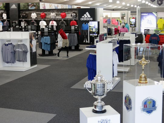 The Wanamaker Trophy and Ryder Cup, lower right, will be on display this weekend at the merchandise shop at Whistling Straits.