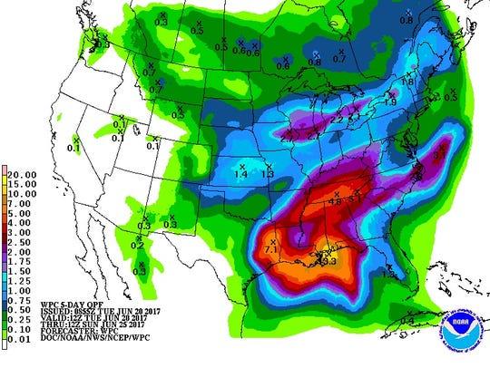 Rainfall estimates for the next five days.