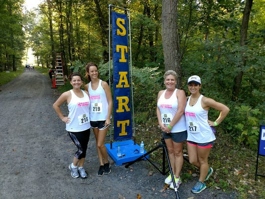 From left, Kristi Fahnestock, Morgan Lehman, April Knepper, and Morgan Neuburger represented Brechbill and Helman, Chambersburg, at the sixth annual Diakon Outdoor Adventure Challenge located in Boiling Springs.