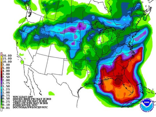 Forecast rainfall from Subtropical Storm Alberto as