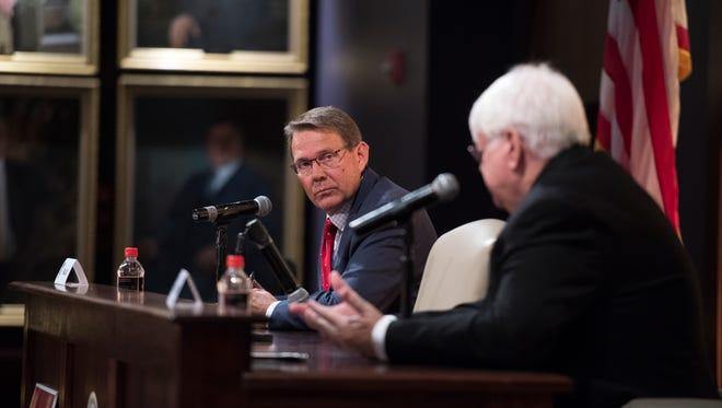 Utah Republican Rep. Brad Last (left) and Democrat Chuck Goode debate at Southern Utah University on Thursday, October 18, 2018.