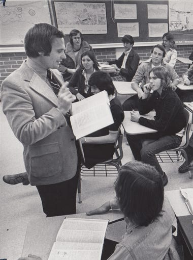 Harry Mitchell teaching his government class at Tempe High School in 1974.
