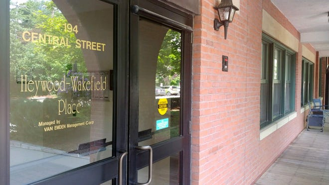 The entrance to the Heywood & Wakefield Place apartment complex on Central Street in Gardner, the scene of an apparent murder-suicide Saturday, Aug. 8.