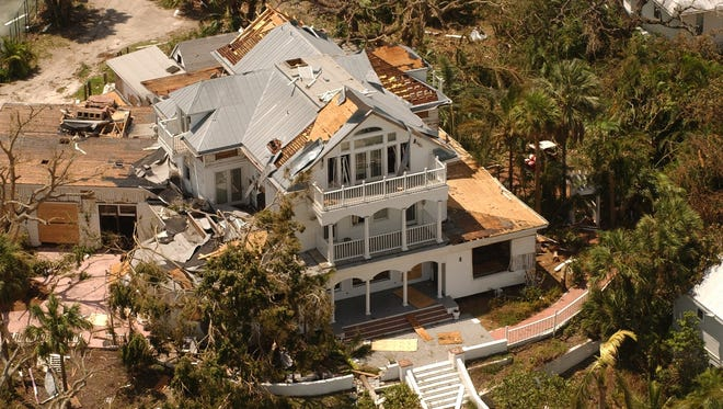 The Collier Inn on Useppa Island shows the effects of Hurricane Charley, which hit as a Category 4 storm on Aug. 13, 2004.