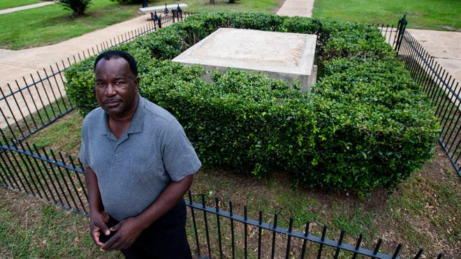 Lowndes County Commissioner Robert Harris stands July 17 near the spot where a Confederate monument once stood in Hayneville. In June, the County Commission unanimously voted to remove the monument, erected sometime before 1940.