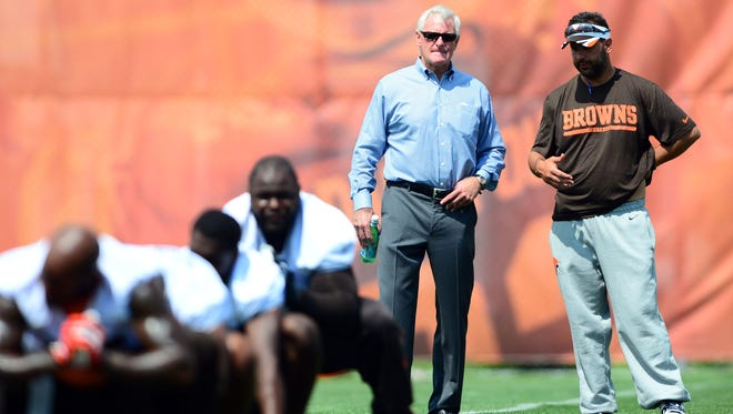Cleveland Browns owner Jimmy Haslam III looks on during minicamp at the team's training facility in Berea, Ohio on June 12, 2014.