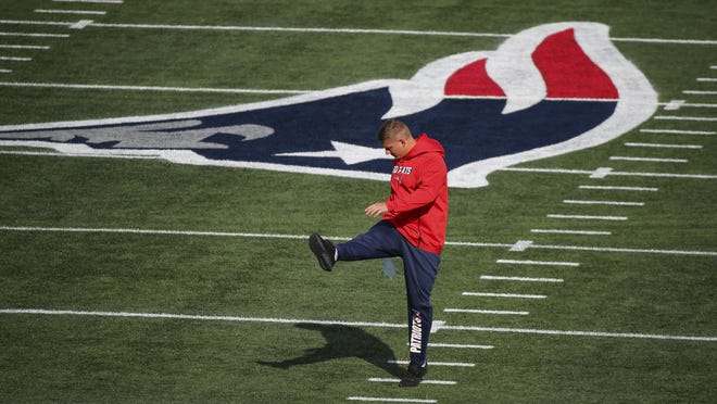 New England Patriots kicker Nick Folk prior to an NFL football game against the Denver Broncos, Sunday, Oct. 18, 2020, in Foxborough. Folk and the Pats will be back out at Gillette Stadium on Sunday as the team prepares to play 11 more games in 11 weeks this regular season.