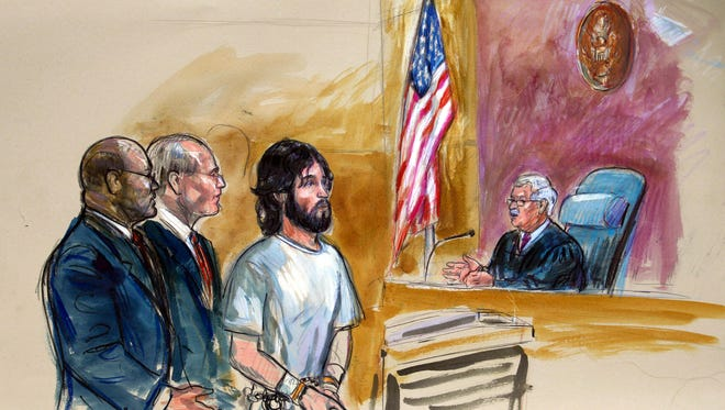 An artist rendering shows accused White House shooter Oscar Ramiro Ortega-Hernandez, center, before Magistrate Judge Alan Kay in Washington, D.C., on Nov. 21, 2011.