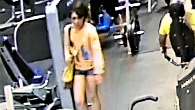 Security camera image of a woman that El Paso police were seeking as part of a gym theft investigation.