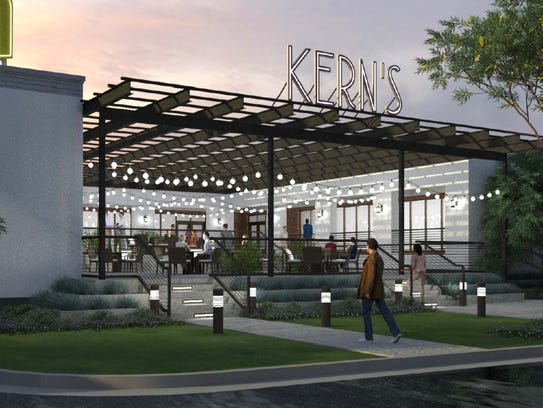 A rendering of the planned development at the Kern's
