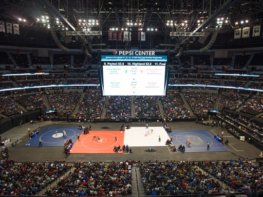 The Pepsi Center transforms for the CHSAA State Wrestling Championships in Denver on Saturday, February 18, 2017.