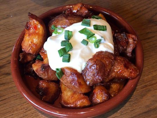 Sweet Chili-Glazed Cracked Potatoes with scallions