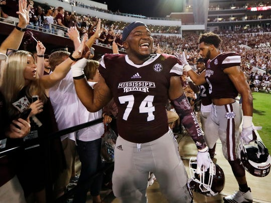 Senior center Elgton Jenkins only has one more opportunity to celebrate with the home fans at Davis Wade Stadium in Starkville. He's been with the program since the 2014 season. (AP Photo/Rogelio V. Solis)