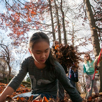 Maggie Peters, 12, grabs a large pile of leaves as