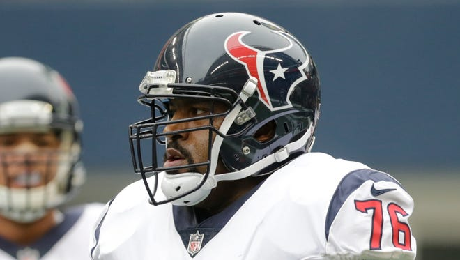 Houston Texans tackle Duane Brown (76) on the field before a game against the Seattle Seahawks, Sunday, Oct. 29, 2017, in Seattle.