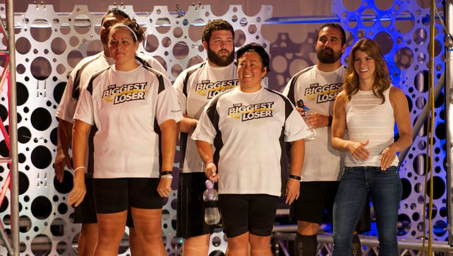 "White team members Woody Carter (from left), Rondalee Beardslee, JJ O'Malley, Sonya Jones and Toma Dobrosavljevic  went to Las Vegas on Thursday's edition of ""The Biggest Loser."""